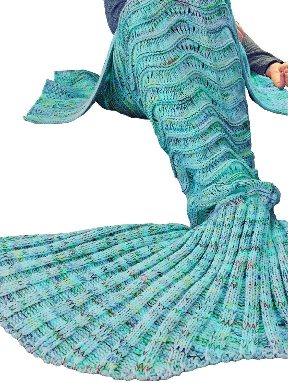 Fu Store Mermaid Tail Blanket Crochet Mermaid Blanket for Adult, Super Soft All Seasons Sofa Sleeping Blanket, Cool Birthday Wedding Christmas, 71 x 35 Inches, Mint Green by Fu Store (Image #2)