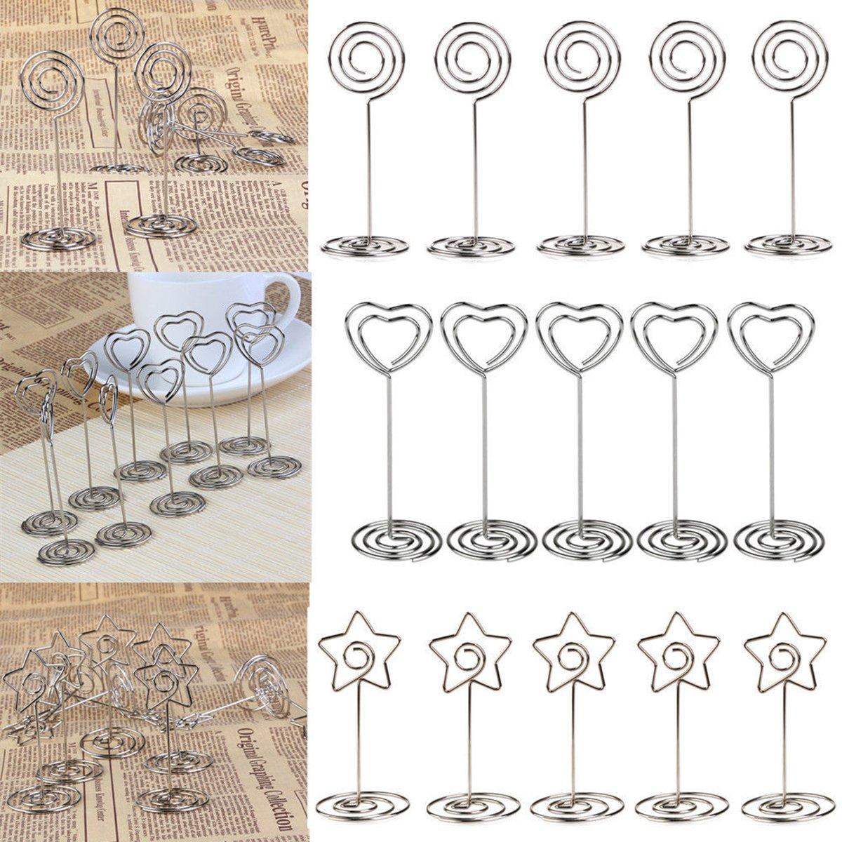 10pcs Toyvian Coloque los sujetadores del favor del banquete de boda de la forma del coraz/ón de la forma del coraz/ón plata