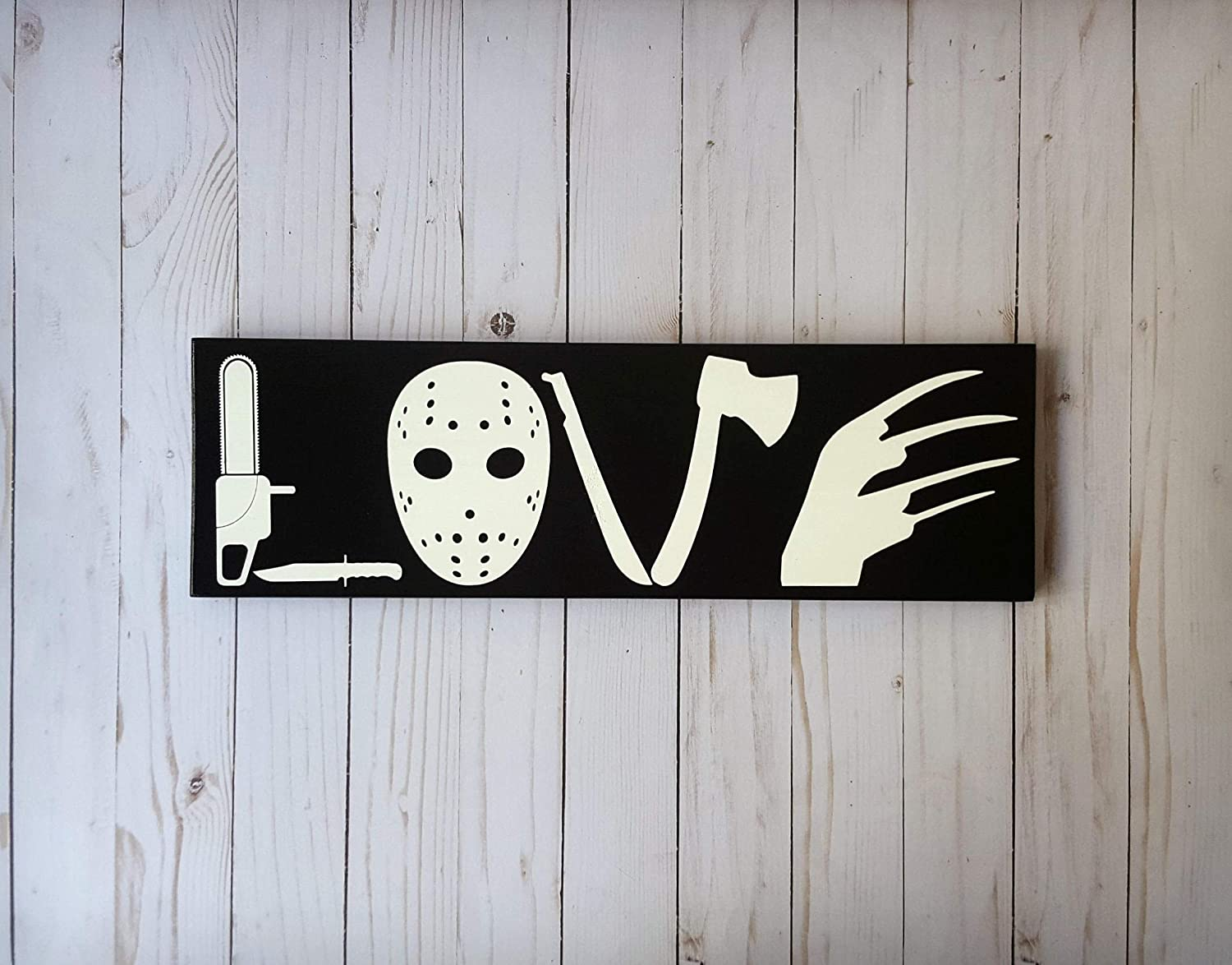 wonbye Wooden Signs with Sayings, Horror Movie Love Wooden Sign, I Love Horror, Horror Movie Sign, Horror Love Sign, Scary Movie, Scary Movie Love, I Love Scary Movies Sign