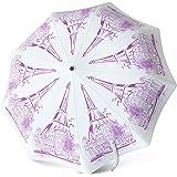 Compact Travel Umbrella - Windproof Water Repellent Teflon Coating - Auto Open Close (White Elegance)