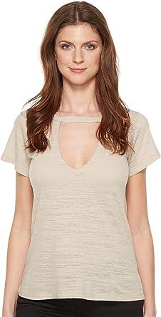 7d95063cf50ec LNA Women s Short Sleeve Cut Out V Oat Shirt at Amazon Women s ...