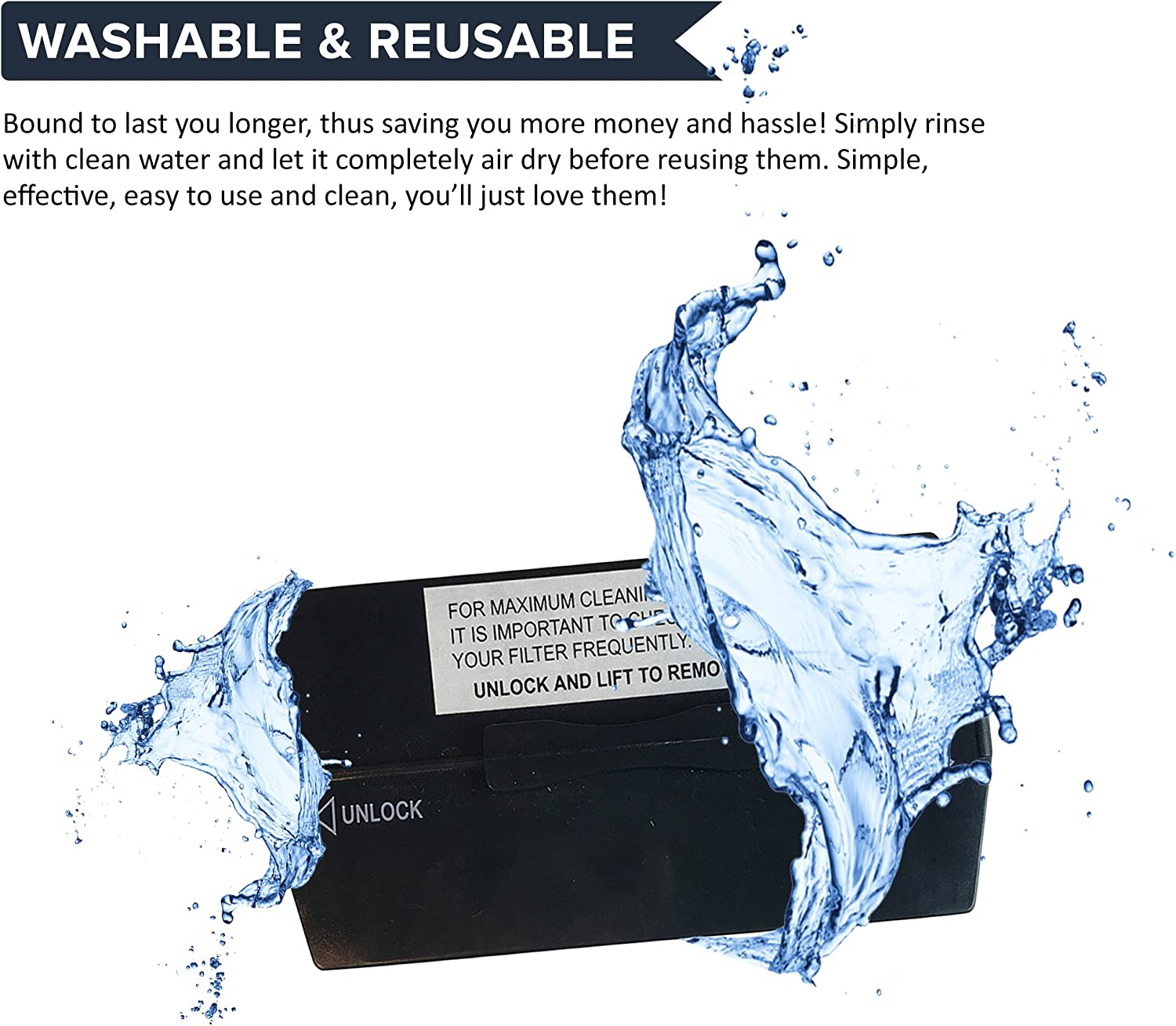 Think Crucial 4 Replacement for Dirt Devil F13 HEPA Style Filter /& Foam Pre-Filter Compatible with Part # 3LK0540001 Washable /& Reusable