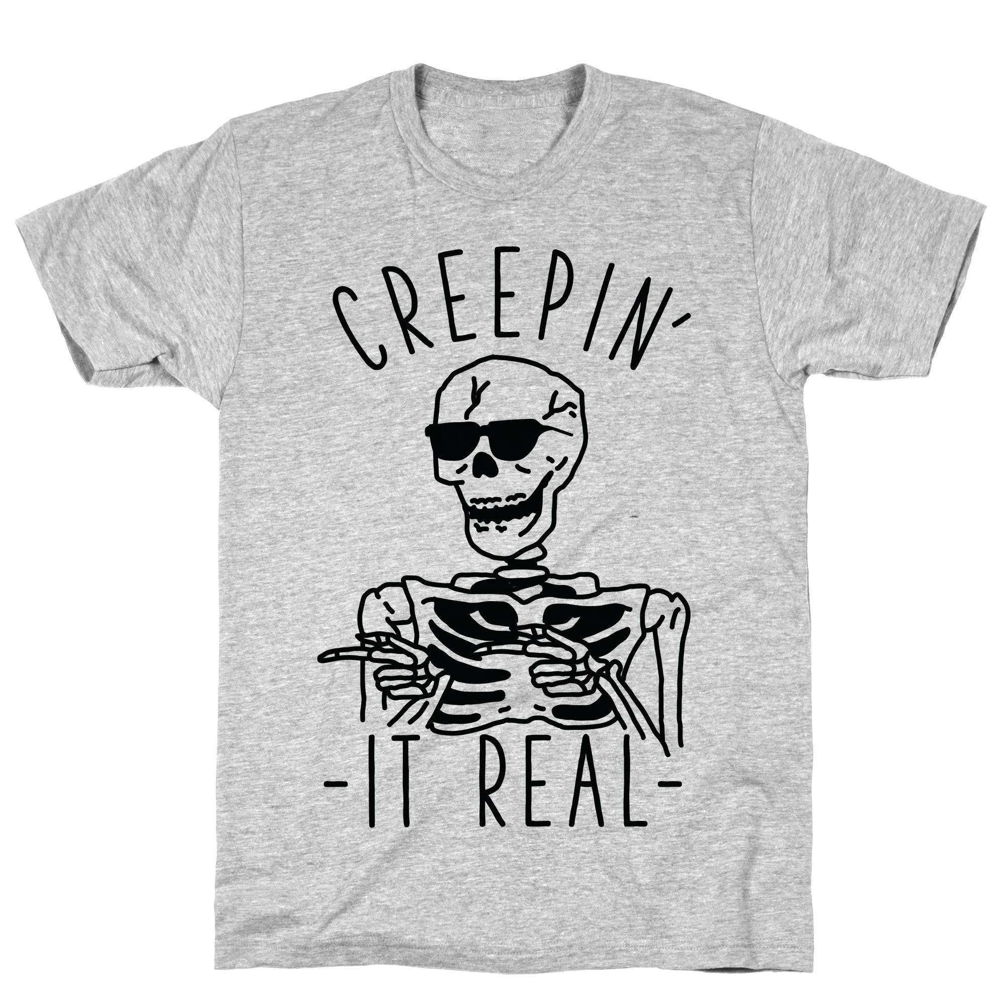 Creepin It Real Skeleton Athletic Gray S Ts Shirts