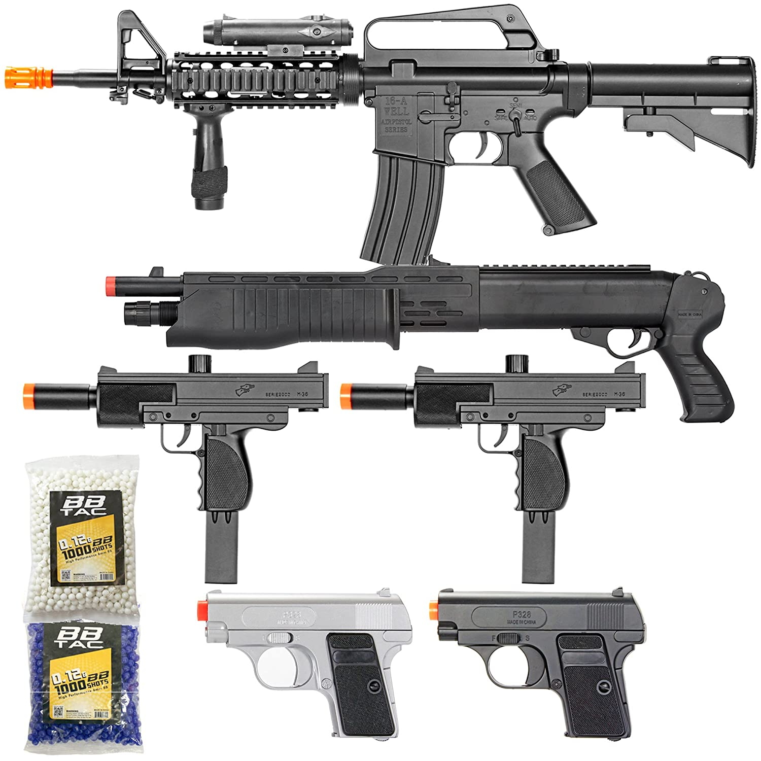 BBTac Airsoft Gun Package - Black Ops - Collection of Airsoft Guns -  Powerful Spring Rifle, Shotgun, Two SMG, Mini Pistols and BB Pellets, Great  for
