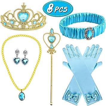 Tacobear 8 Piezas Princesa Disfraz Jasmine Niña con Corona ...