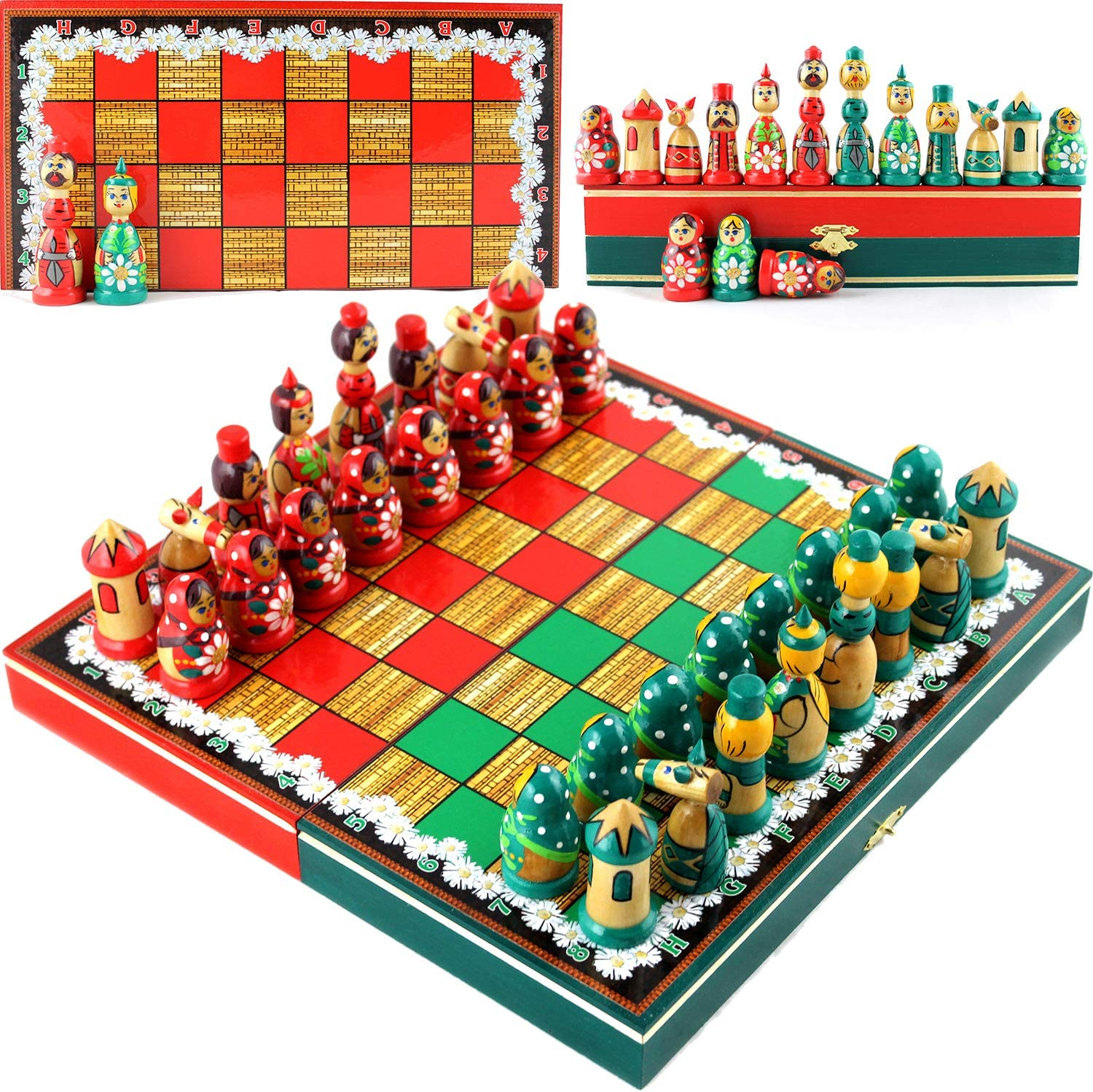 Chess Set Board Game Russian Dolls Set - Themed Chess Russian Folk Art of Russia -Matryoshka Nesting Doll Chess Pieces Wood Decor - Unique Chess Set Souvenirs (Chamomile)