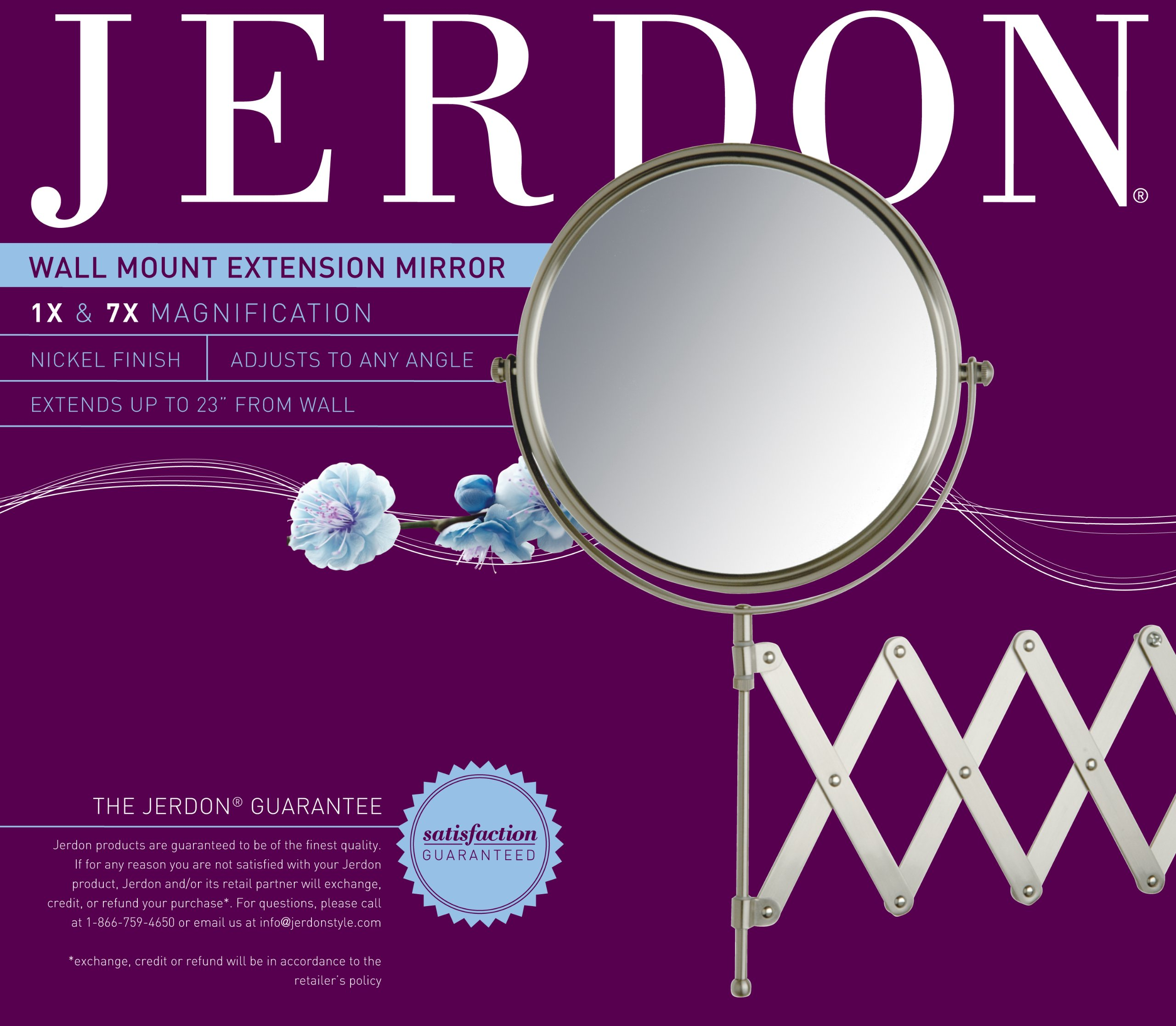 Jerdon JP2027N 8-Inch Wall Mount Makeup Mirror with 7x Magnification, Nickel Finish by Jerdon (Image #2)