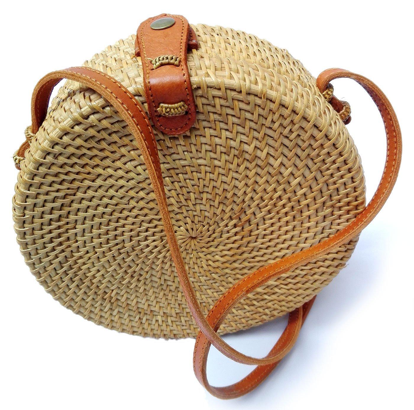 Bali Rattan - Handwoven Round Rattan Bag (Plain Weave Leather Closure) by Bali Rattan (Image #1)