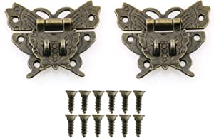 HJ Garden 2pcs Antique Butterfly Clasp Buckle Vintage Bronze Decorative Butterfly Hook Lock Hasp Latches for Jewelry Chest Furniture