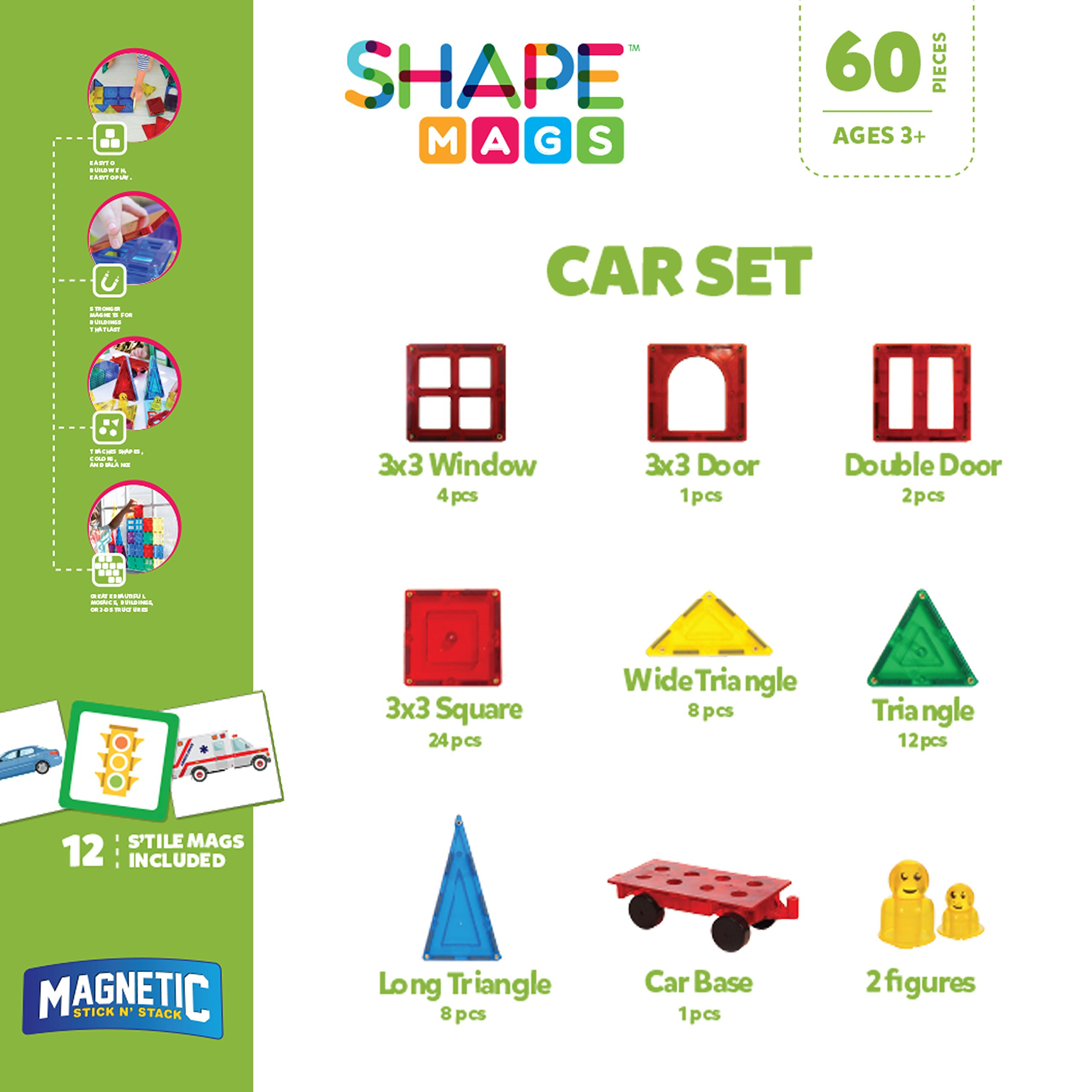 Magnetic Stick N Stack Award Winning 72 Piece Set Includes 60 Magnetic Tiles and 12 Stile Mags, Made with Power+Magnets by Magnetic Stick N Stack (Image #2)