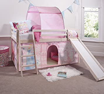 Disney Princess Cabin Bed with Tent and Slide in Whitewashed Solid Pine & Disney Princess Cabin Bed with Tent and Slide in Whitewashed Solid ...