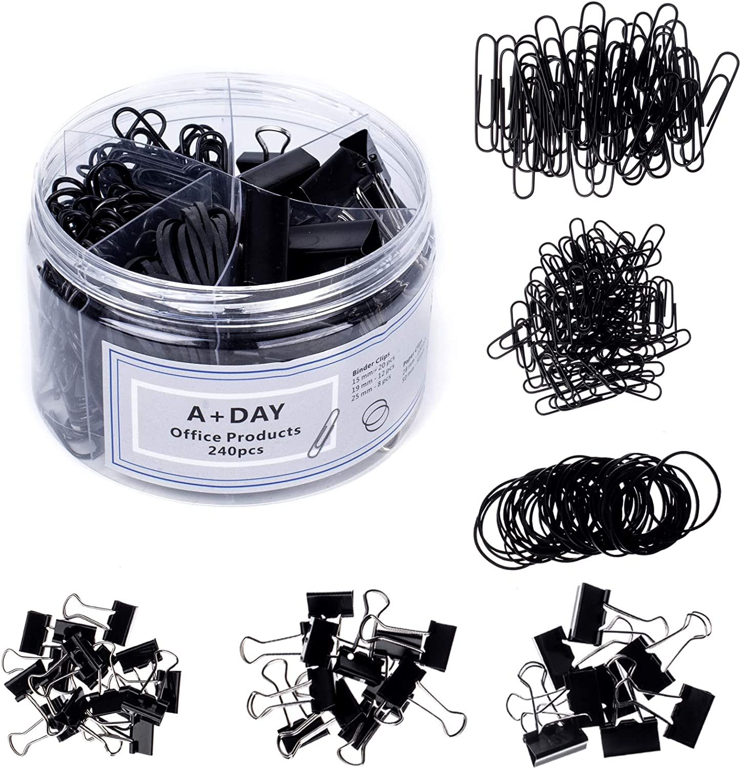 A+DAY 240 pcs Binder Clips, Paper Clips, Rubber Bands, Paper Clamps Assorted Size, Jumbo Paper Clips, Small Paper Clips, Large Binder Clips, Medium Binder Clips, Small Binder Clips (Black)