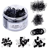 A+DAY 240 pcs Binder Clips, Paper Clips, Rubber Bands, Paper Clamps Assorted Size, Jumbo Paper Clips, Small Paper Clips…