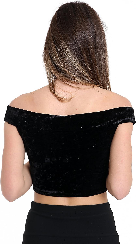 GirlzWalk Women Velvet Off Shoulder Crop Vest Top