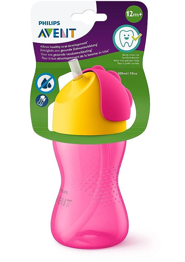 Philips Avent SCF798/02 - Vaso con pajita flexible, 300 ml, 12 m+, válvula antigoteo, piezas compatibles Philips Avent, color rosa