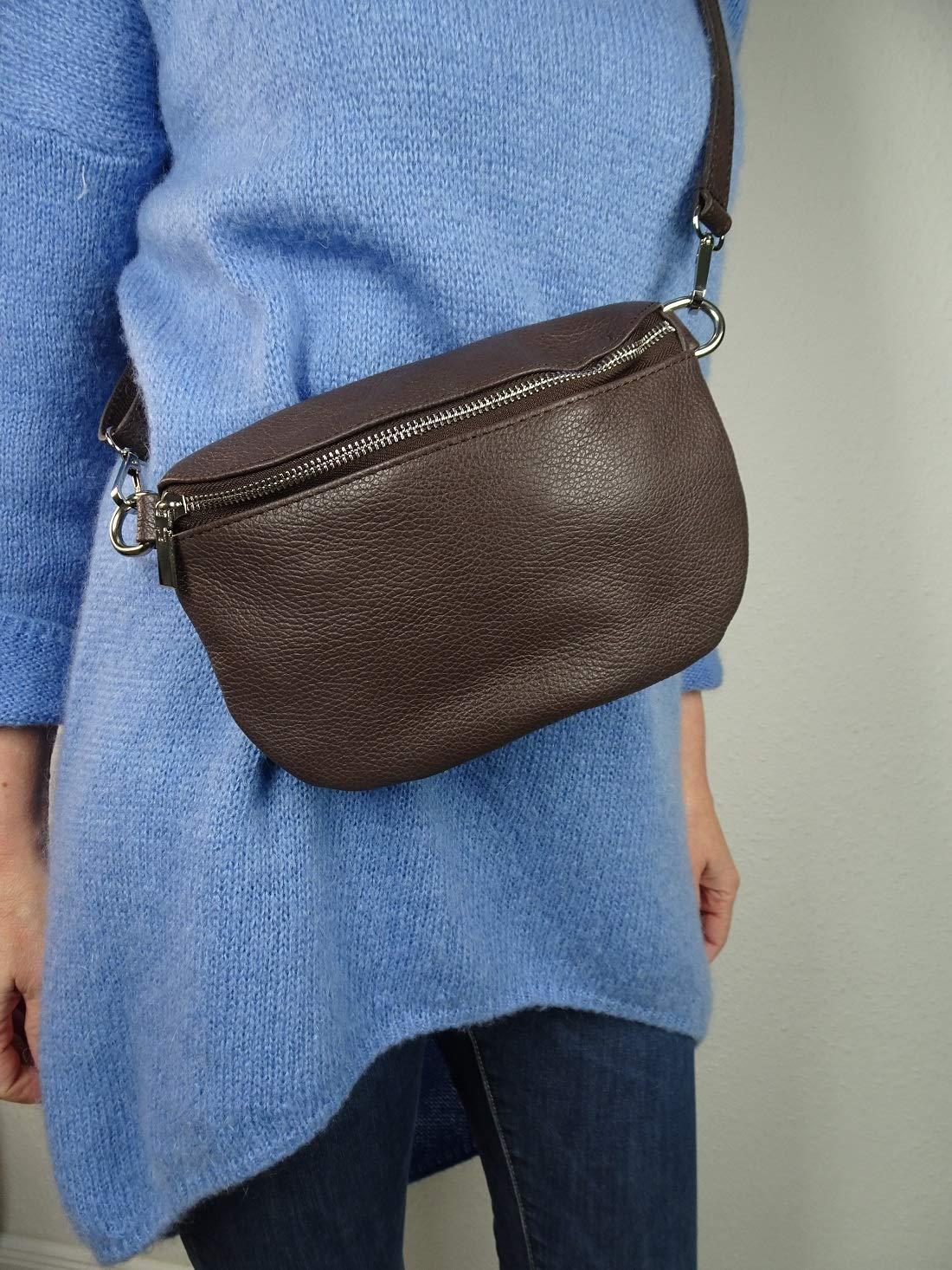 Italy borse i pelle metallic äkta läder dam crossover Body Bag midjeväska handväska BRUN