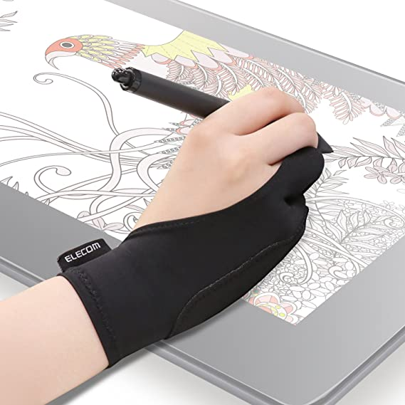 ELECOM Two-Finger Glove for Graphic Drawing Tablet Large Size/Artist / 1 Unit of Large Size/Both Hands Compatible Large TB-GV2L