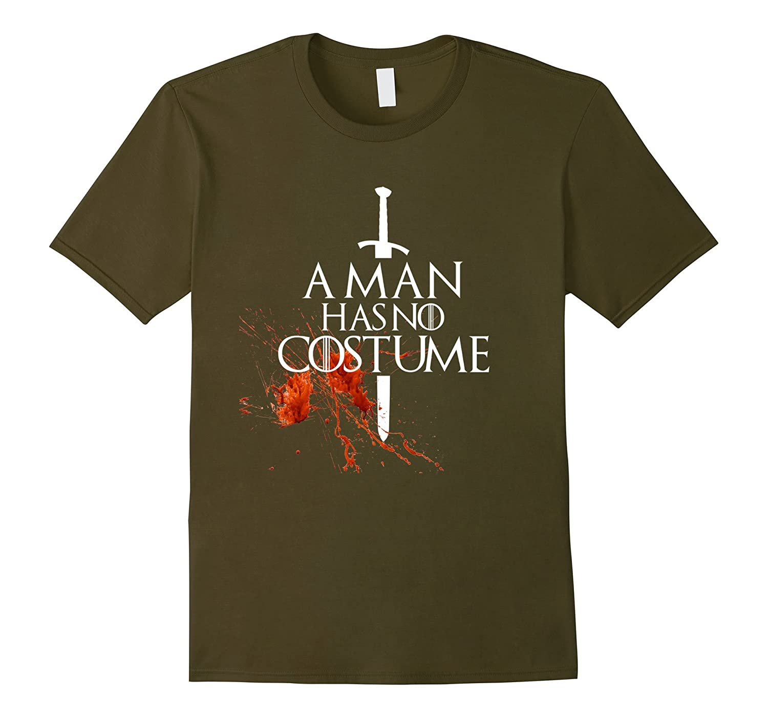 A Man Has No Costume tShirt funny Halloween shirt with Blood-FL