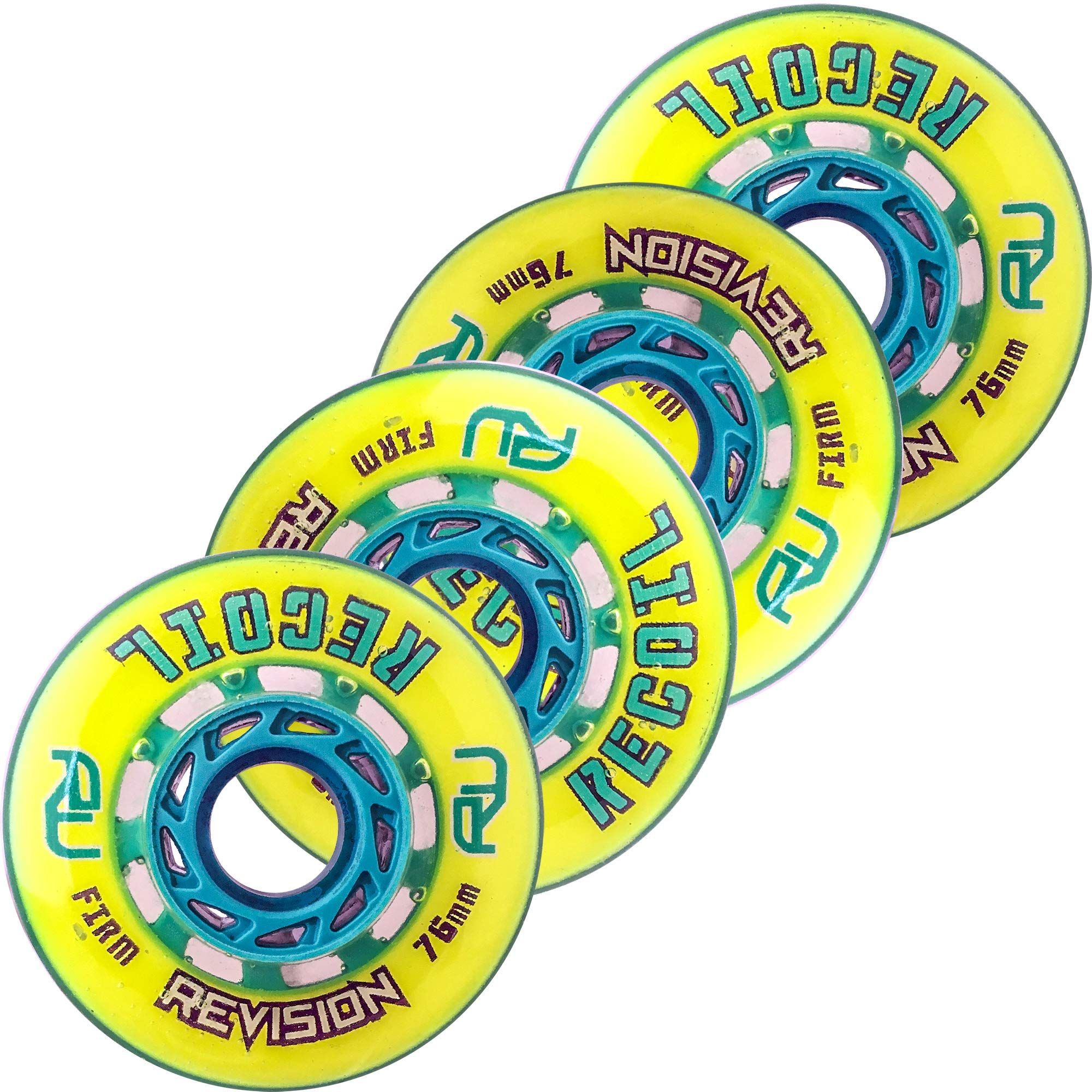 Revision Recoil Indoor Inline Roller Hockey Wheel - 74A - 76 Firm 4 Pack - Yellow & Teal by Revision Hockey