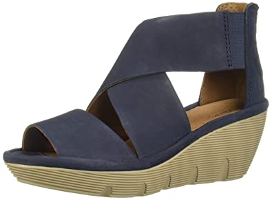 b2c4193280 Clarks Clarene Glamour Womens Wedge Sandals Navy Nubuck 7: Buy Online at  Low Prices in India - Amazon.in