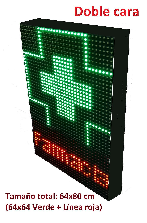 Rótulo LED programable para farmacias (64x32 cm Verde Doble Cara) Incluye Sensor de Temperatura / Pantalla LED electrónica con Cruz Verde / Letrero ...