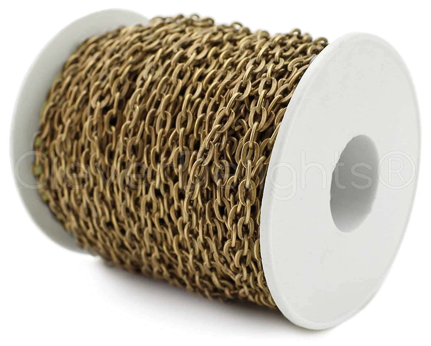 CleverDelights Cable Chain Spool - 150 Feet - Antique Bronze Color - 4x6mm Link - Rolo Chain Bulk Roll by CleverDelights   B017Y5MQ6Y
