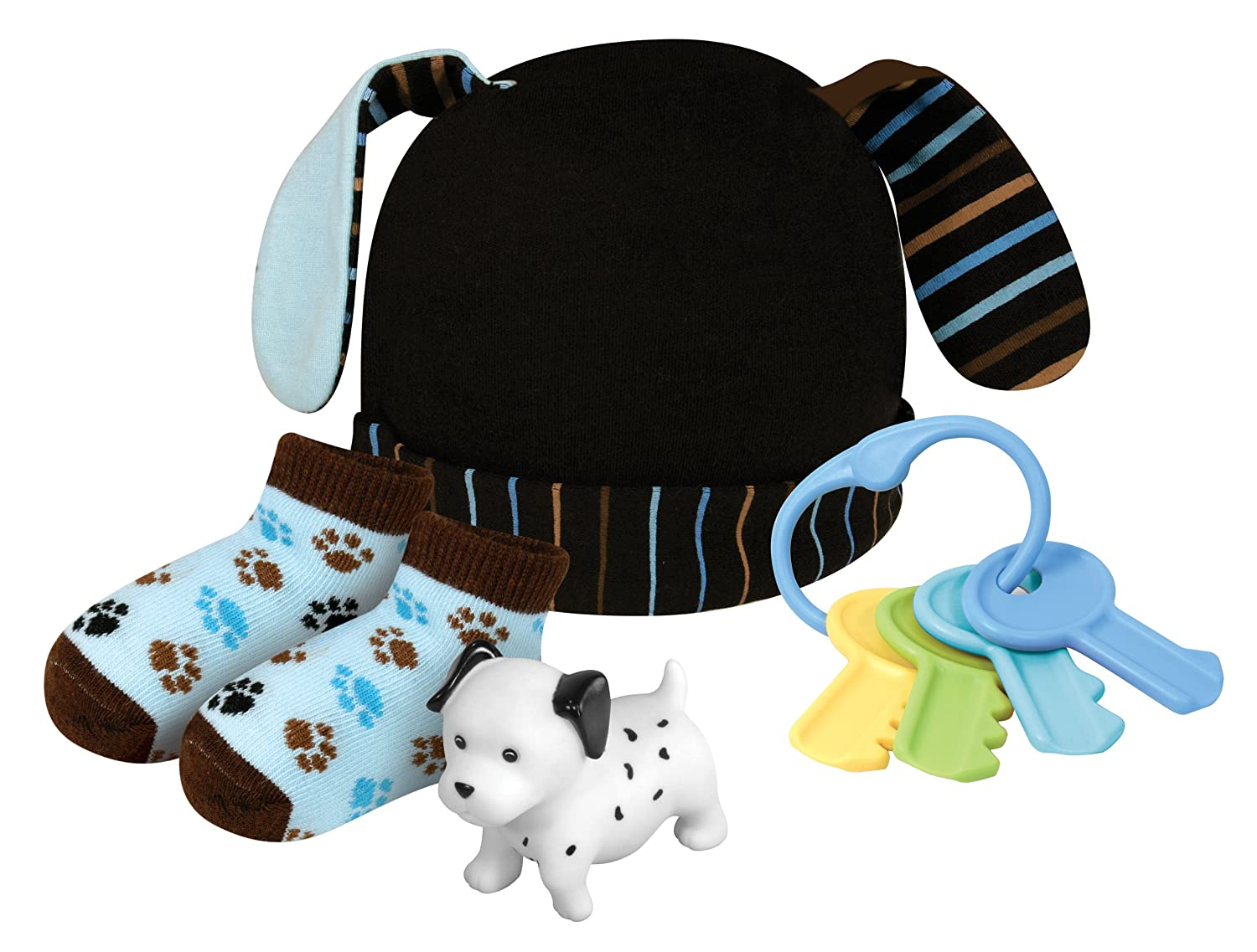 Stephan Baby Bootie Socks, Key Rattle, Bath Squirter and Floppy-Eared Cap Gift Set, Blue Dog, 0-6 Months 602413