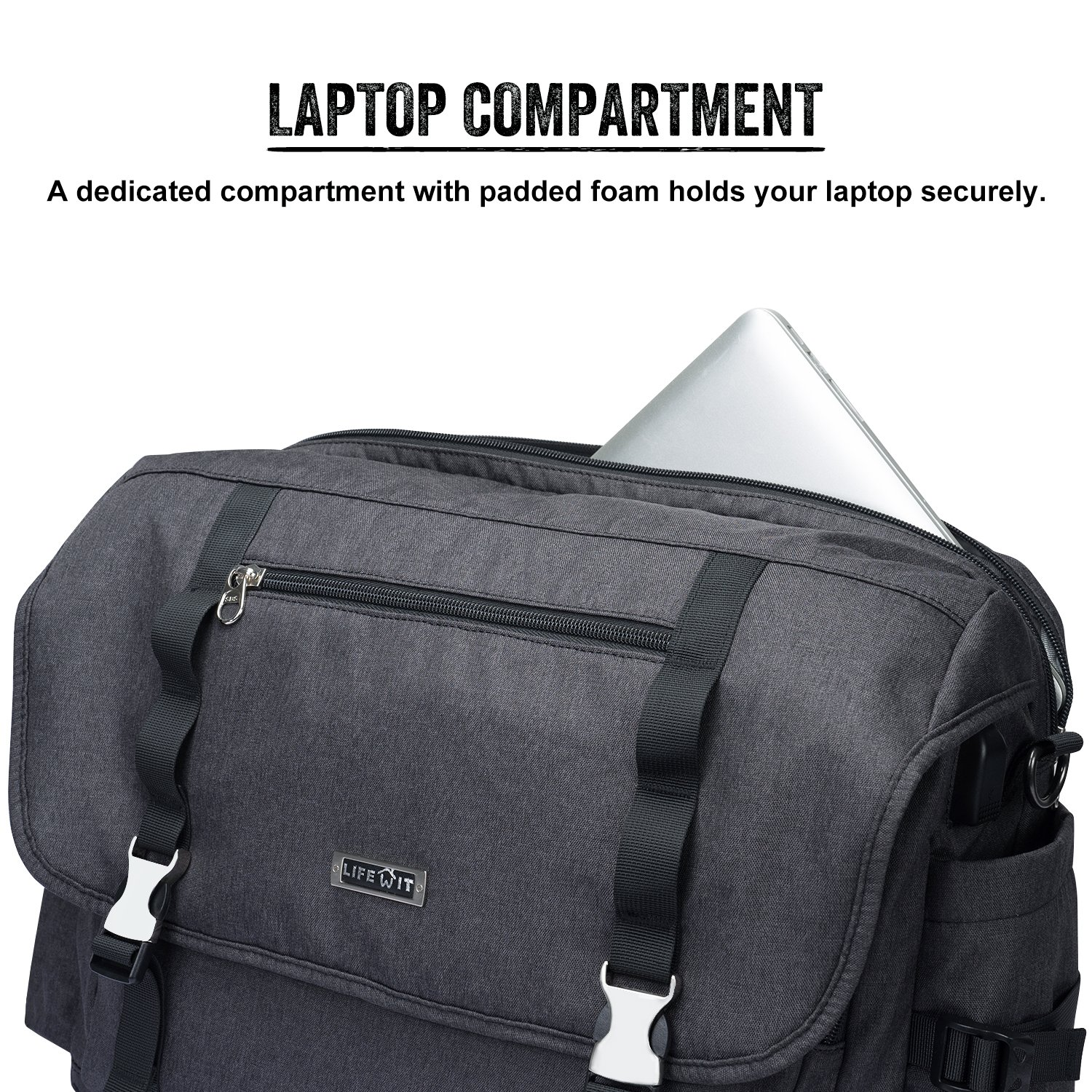 Lifewit 15.6 Men's Laptop and Tablet Bag Expandable Business Messenger Shoulder Bag Case for Macbooks/Ultrabooks/Chromebooks/Notebooks with Handle