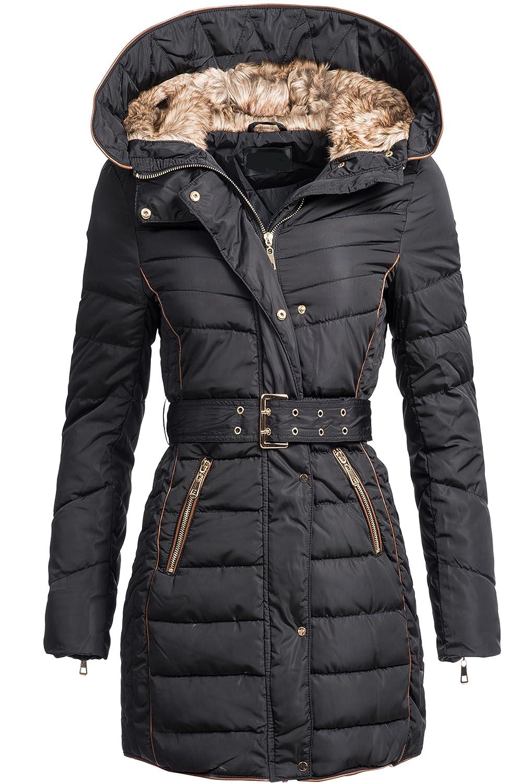 Winterjacke | Wintermantel | Stepp-Jacke für Damen Modell D-012 - eleganter Stepp-Mantel im schlanken Parka-Stil mit gefütterter Kapuze auch für den Übergang Herbst / Winter