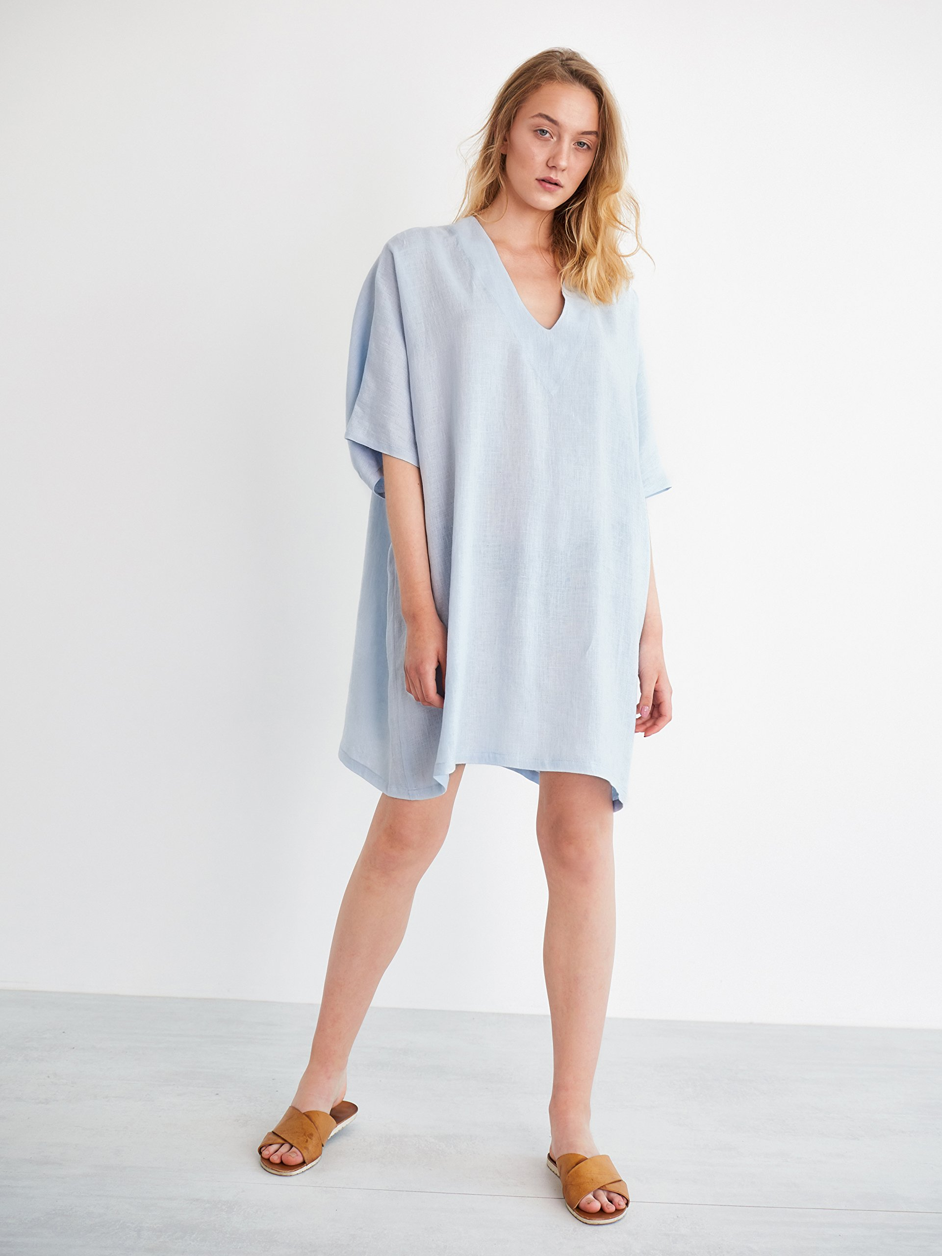 APRIL Linen Tunic Dress in Baby Blue Short Sleeve Oversized Loose Fit Plus Size Midi Summer Dress Ladies Women