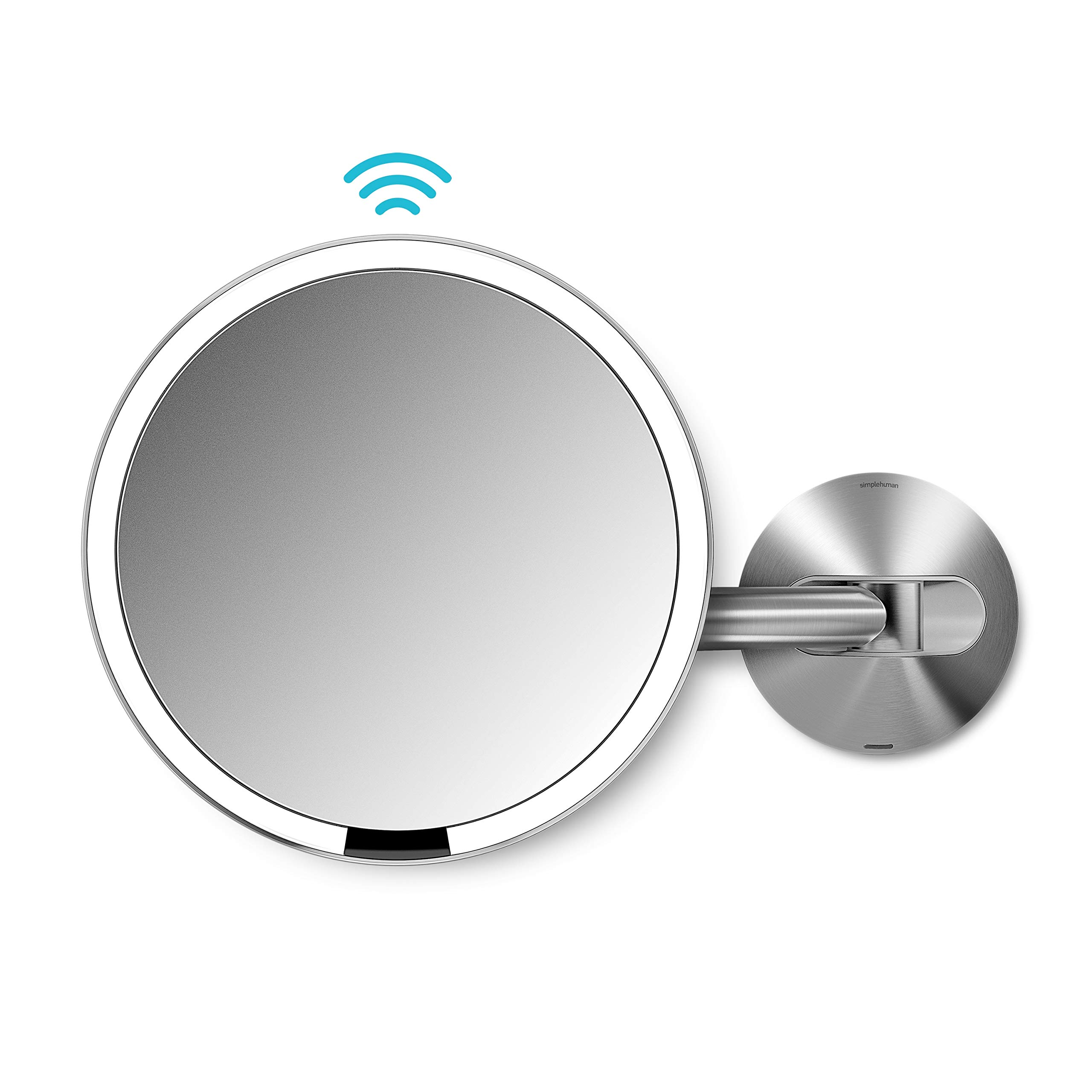 simplehuman 8 inch Wall Mount Sensor Mirror - Sensor-Activated Lighted Vanity Mirror, 5x Magnification, 8 inches