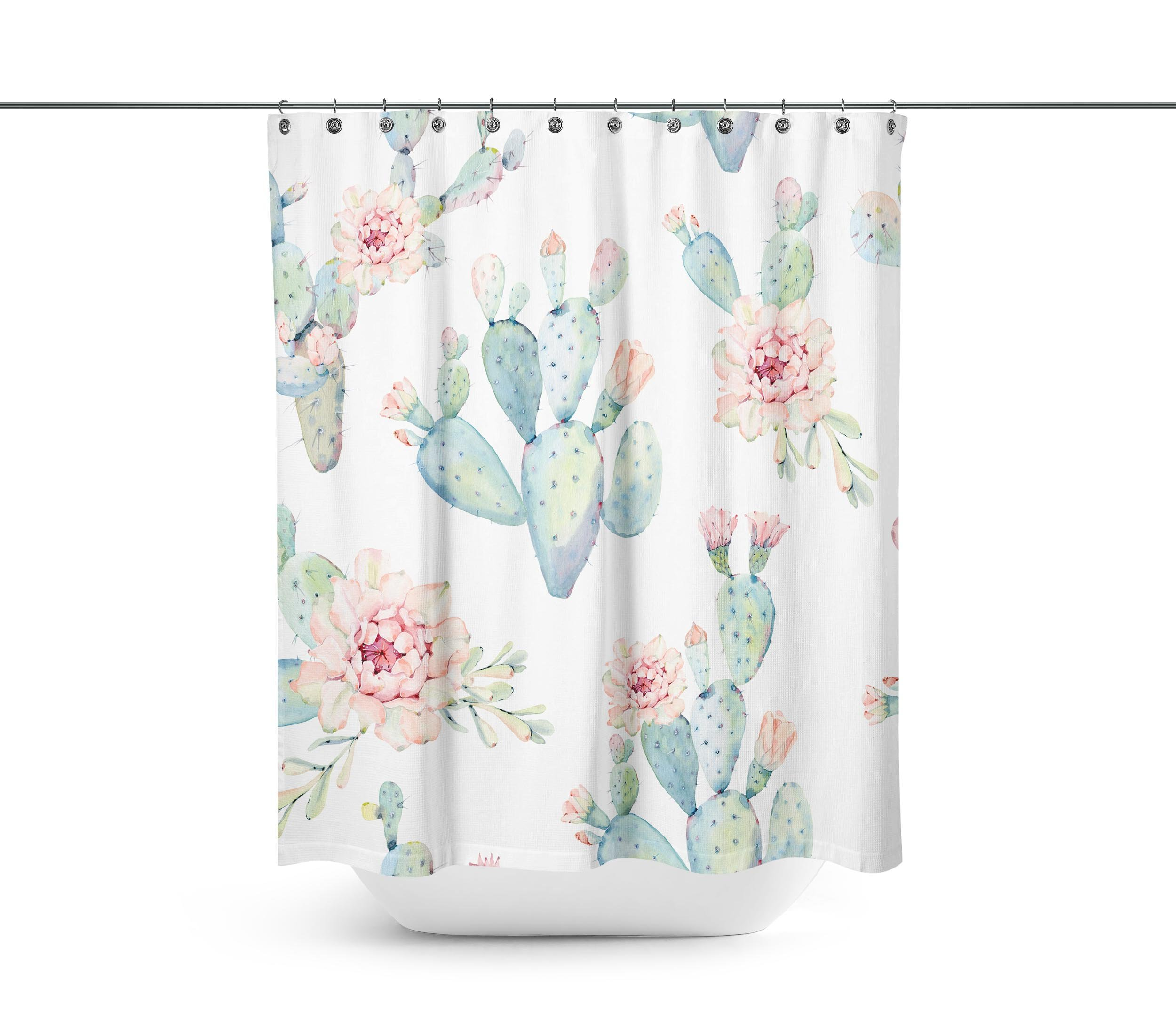 Abin Hand Drawn Watercolor Saguaro Cactus Seamless Pattern Shower Curtains,Water-Repellent & Anti-Bacterial Waterproof Mildew-Resistant Fabric with 12 Curtain Hooks 72-Inch by 72-Inch