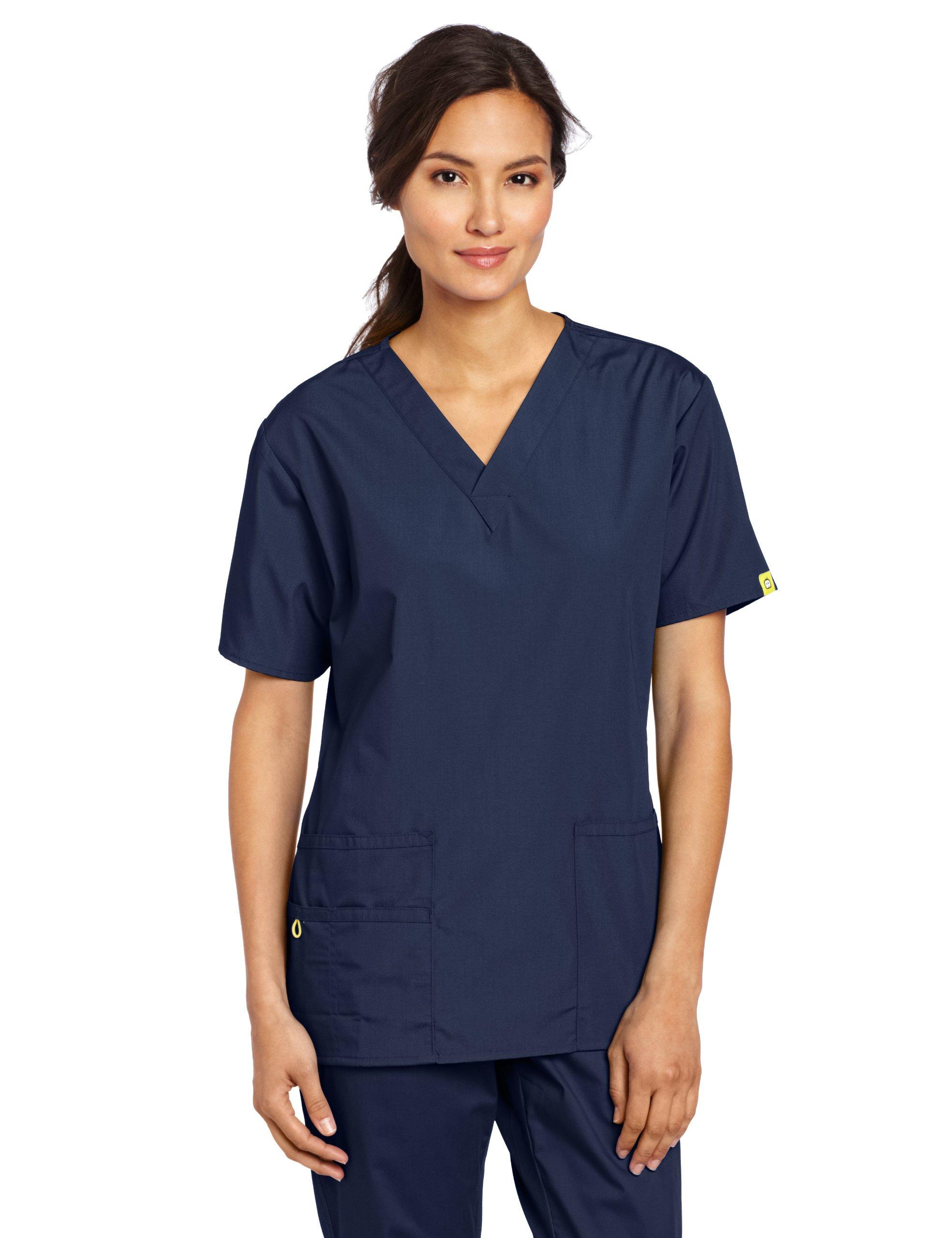 WonderWink Women's Scrubs Bravo 5 Pocket V-Neck Top, Navy, Large