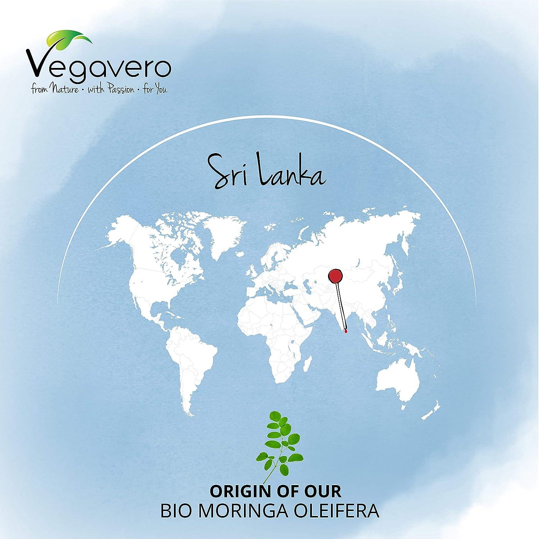 Vegavero® BIO Moringa Oleifera | 300 CÁPSULAS | 1600 mg | Superfood: Proteínas, Vitaminas, Minerales y Omega 3 | Antioxidante | SIN ADITIVOS | Vegano: ...