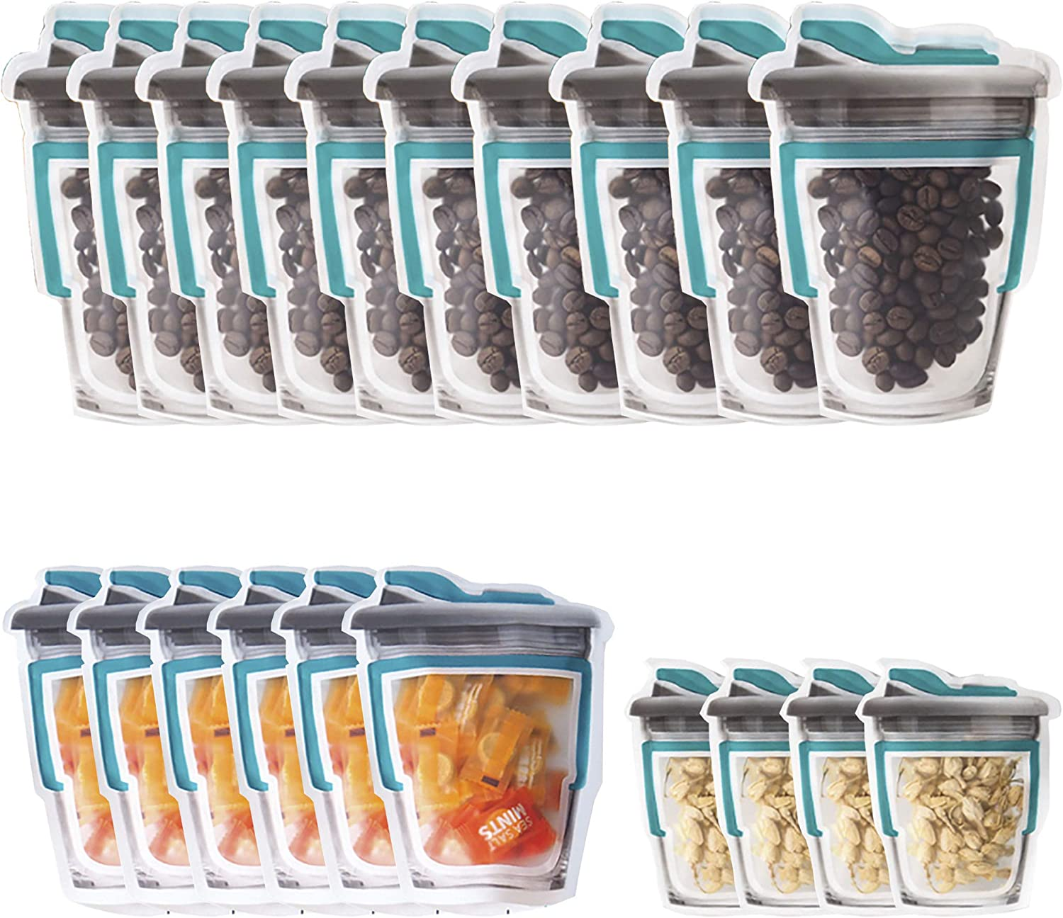 Enkrio Mason Jar Bags, 20 Pack Reusable Airtight Seal Food Storage Bags Snack Sandwich Fresh Sealed Baggies for Kids Home, Freezer Safe(S+M+L) (Green)
