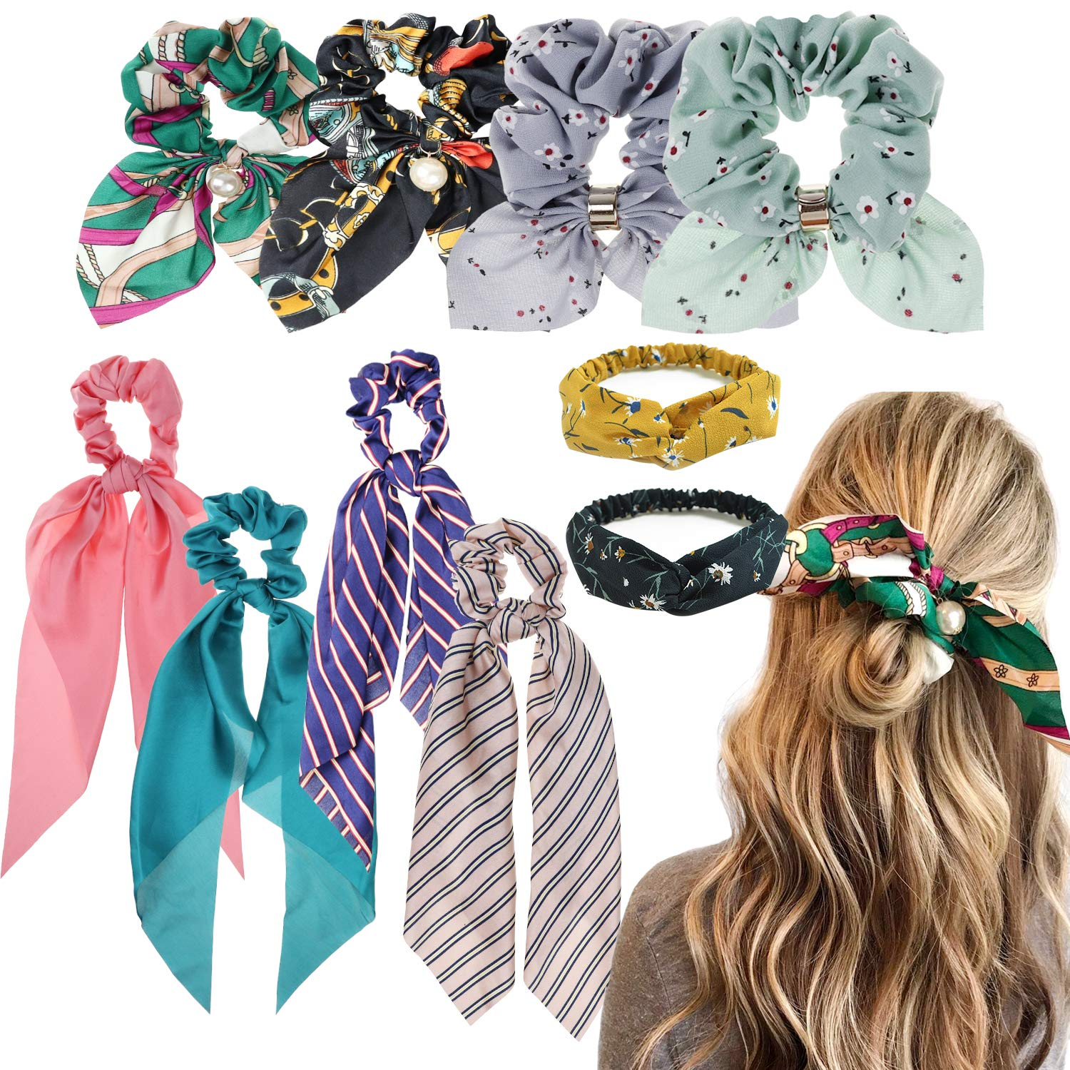 DRESHOW Cross Headbands Vintage Elastic Head Wrap Stretchy Moisture Hairband Twisted Cute Hair Accessories Pack 4/10 (10 Pack: 8 hair scarves + 2 headbands)