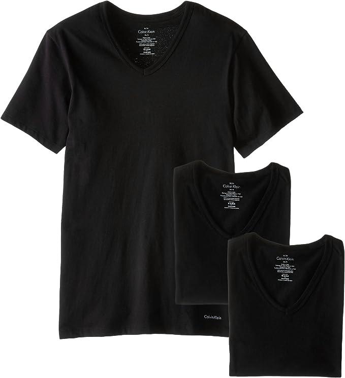 Calvin Klein 卡尔文克莱因 CK 男式短袖V领T恤 打底衫*3条装 6折$23.7 2套色可选 海淘转运到手约¥198