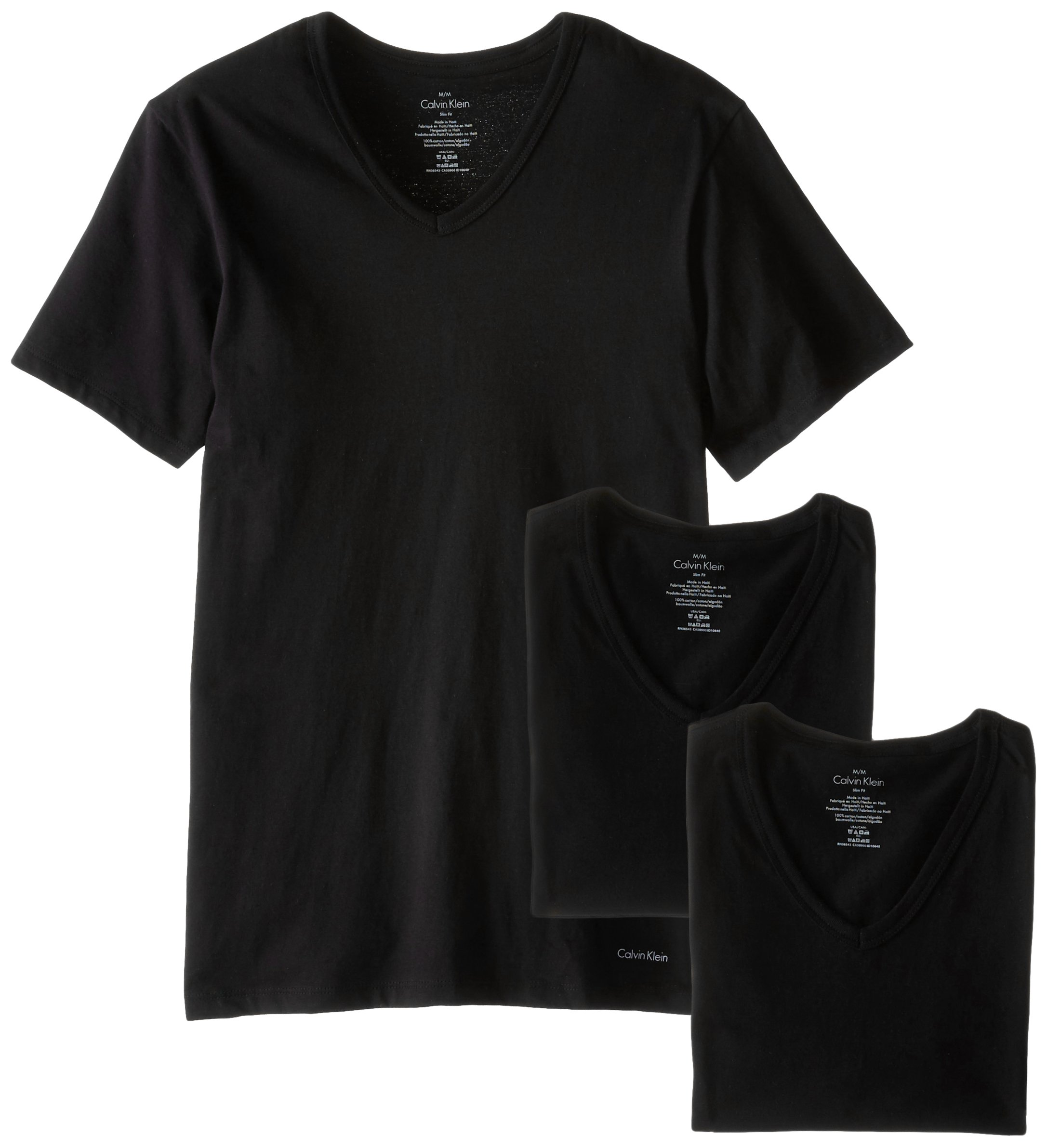 Calvin Klein Men's Undershirts Cotton Classics 3 Pack Slim Fit V Neck Tshirts, Black, Small