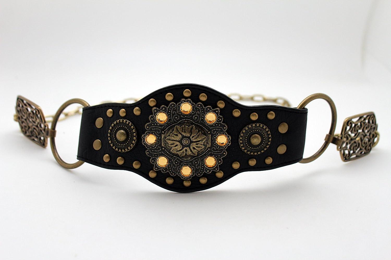 Fun Women Fashion Belt Ethnic Antique Gold Metal Chain Moroccan Flower Charm M L