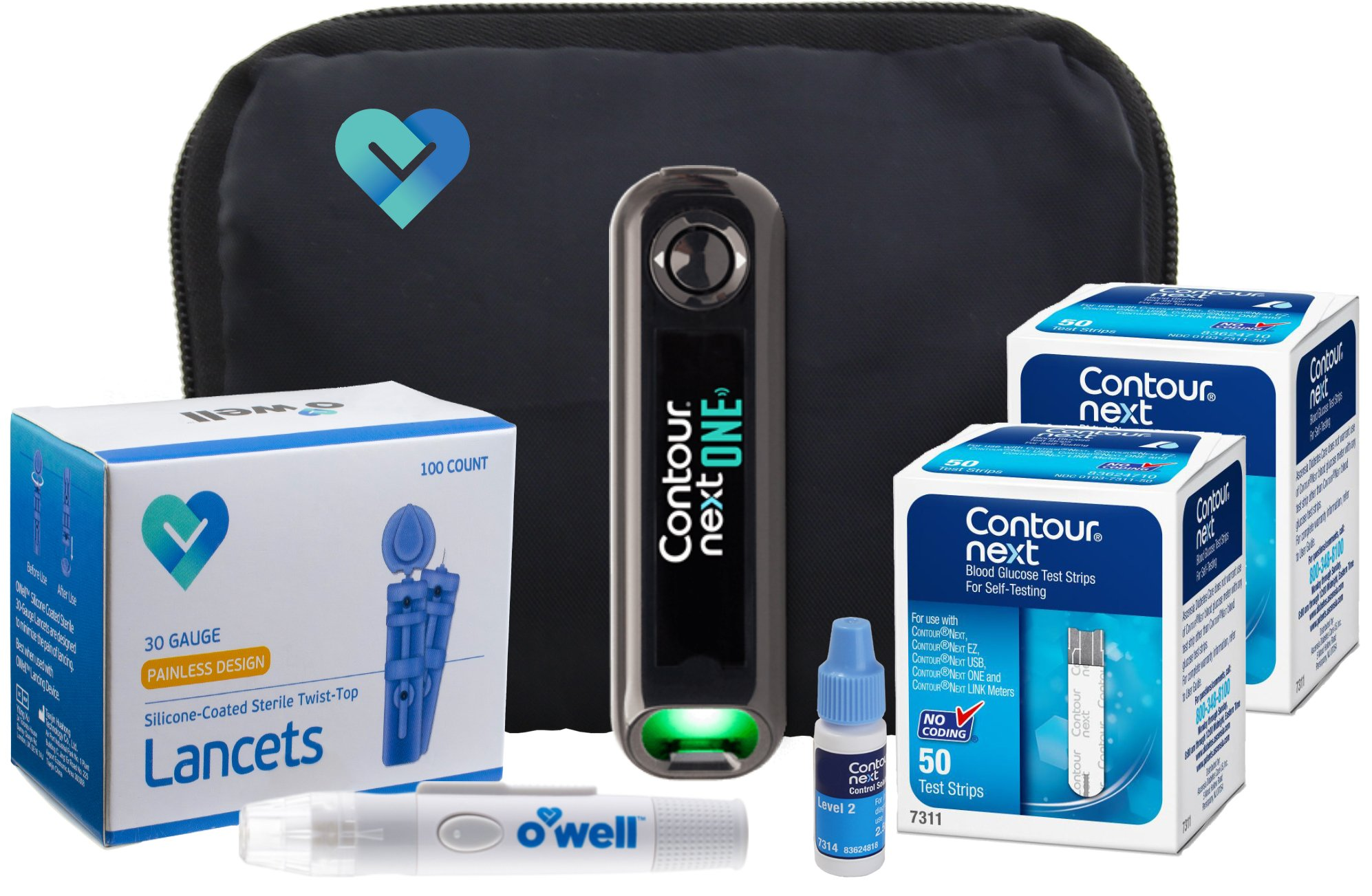 Contour NEXT ONE Diabetes Testing Kit, 100 Count | Glucometer, 100 Contour NEXT Test Strips, Contour NEXT Control Solution, 100 Lancets, Lancing Device, Manuals, Log Book & Carry Case