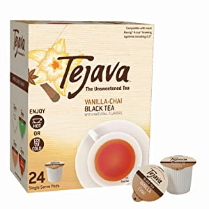 Tejava Unsweetened Black Tea Pods with Natural Vanilla Chai Flavor, Award-Winning Tea, 100% Recyclable Single Serve Cups | Keurig K-Cup Compatible (24 Count)