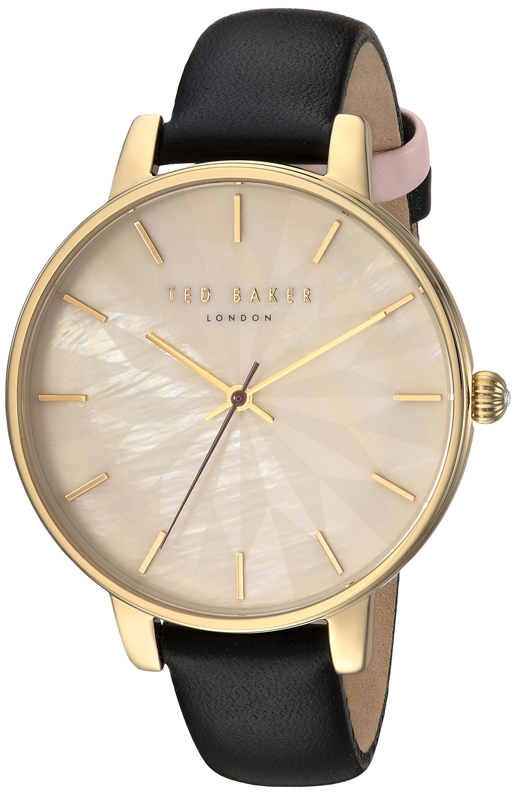 Ted Baker Women's 'KATE' Quartz Stainless Steel and Leather Casual Watch, Color:Black (Model: TE15200003)