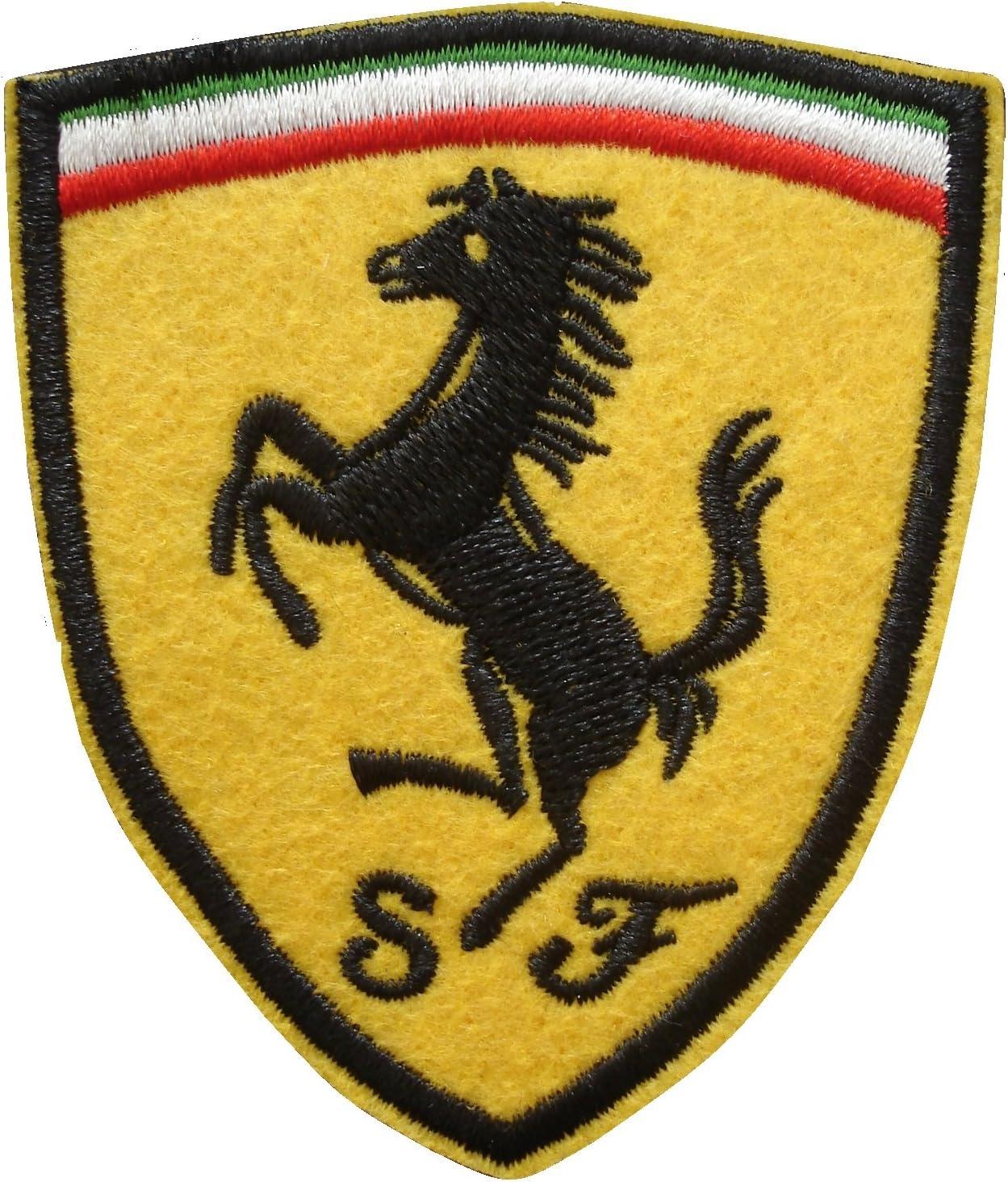 ITALIAN STALLION FERRARI RACING BLACK WHITE SEW//IRON ON PATCH EMBROIDERED BADGE