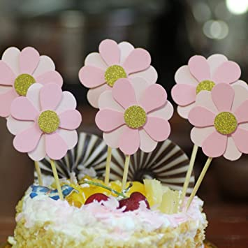 NOMSOCR 6Pcs Beautiful Flowers Cupcake Cake Toppers Dessert Table
