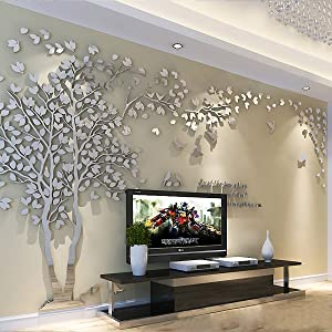 3D Huge Couple Tree DIY Wall Stickers Crystal Acrylic Wall Decals Wall Murals Nursery Living Room Bedroom TV Background Home Decorations Arts (Silver-Left, XXL)
