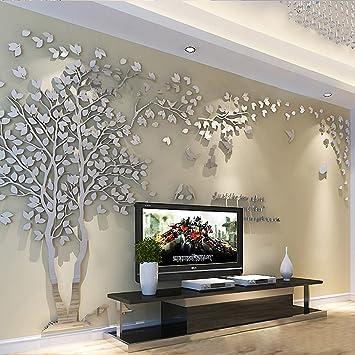 Amazon.com: Missley DIY 3D Sliver Tree Acrylic Wall Decals Nursery ...