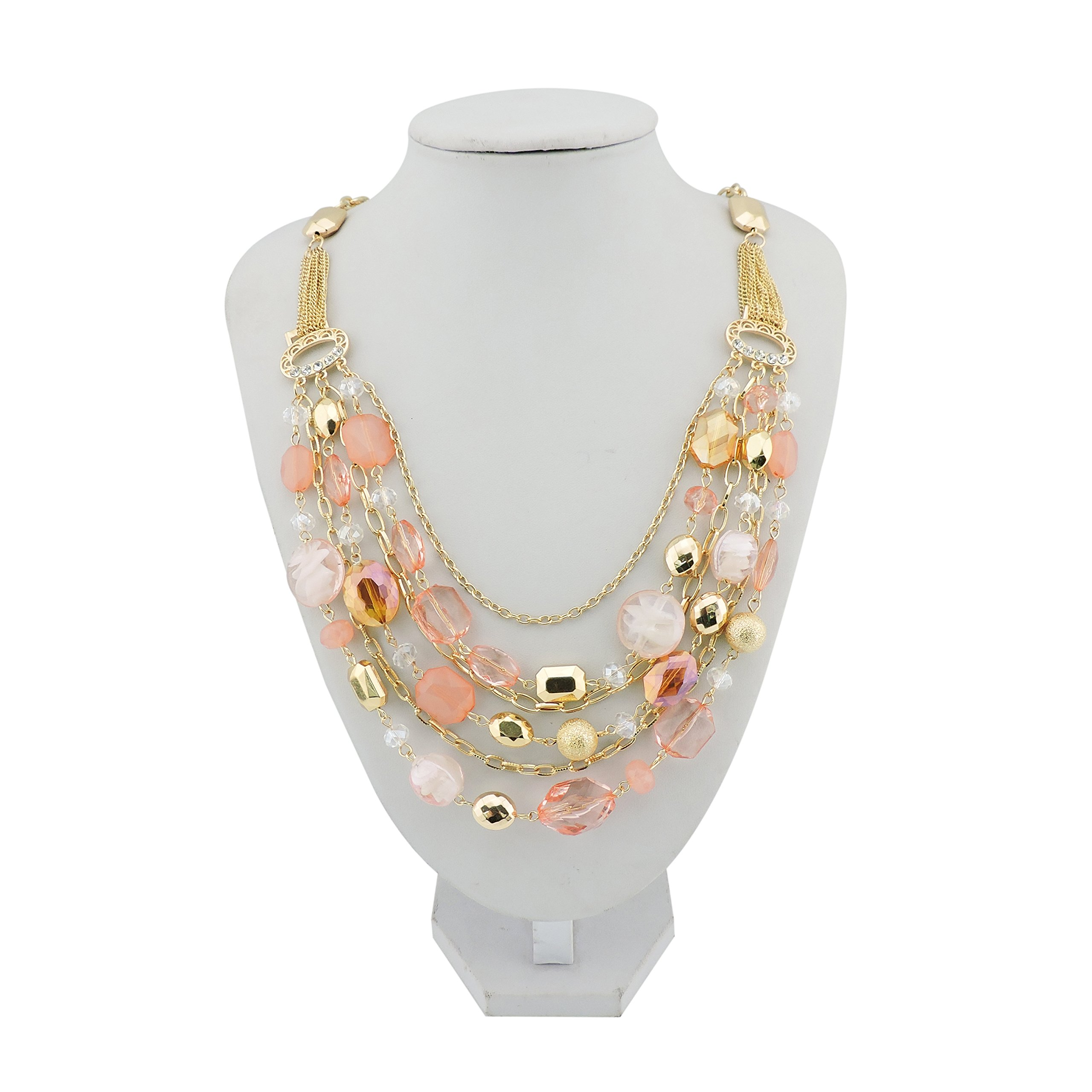 Bocar Newest Multi Layer Chain Crystal Colored Glaze Statement Women Necklace (NK-10061-peach)