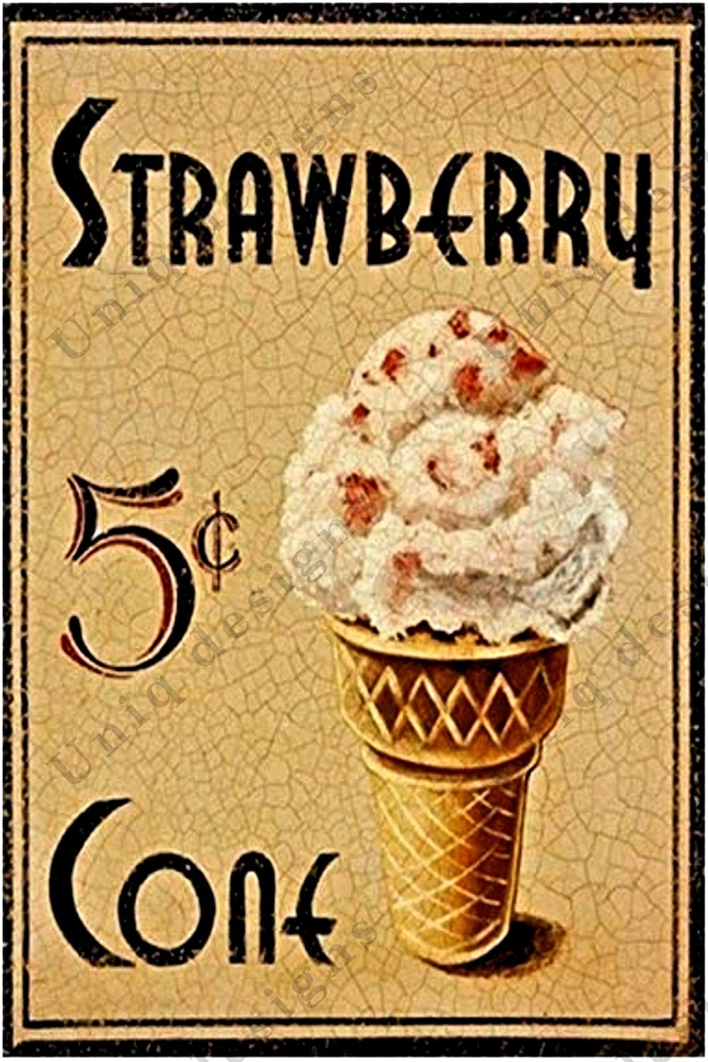 UNiQ Designs Metal Tin Signs -Strawberry Cone Food Sign -Ice Cream Decorations Metal Food Signs Ice cream Cone Sign -Vintage Poster Food Tin Food Signs - Ice cream kitchen Tin Signs Vintage Funny 12x8