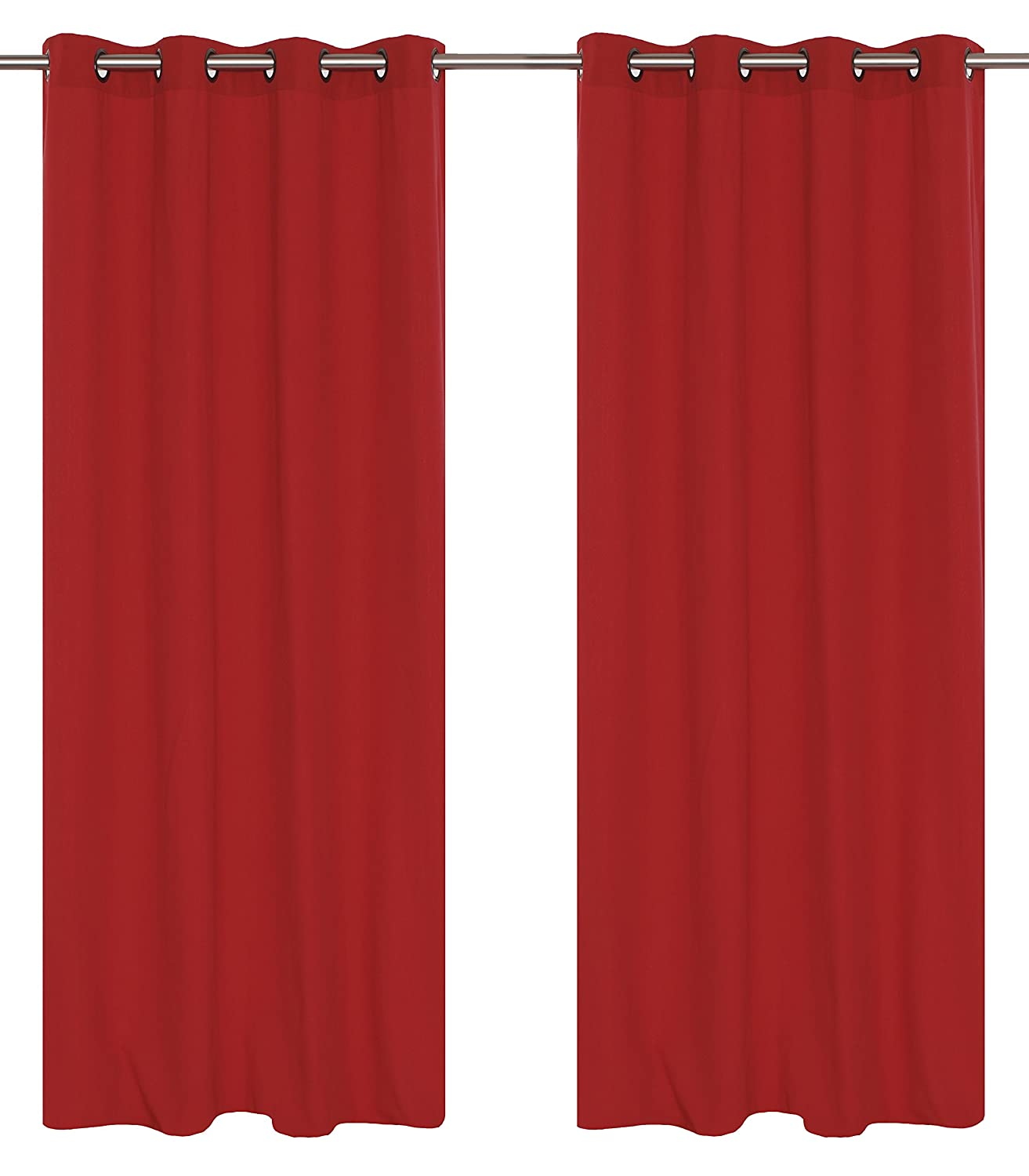 LJ Home Fashions Karma Cotton Like Grommet Curtain Panels Set of 2 54×95-in, Rhubarb Red