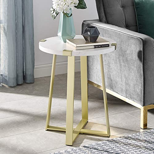 WE Furniture Rustic Farmhouse Round Metal Side End Accent Table Living Room, 18 Inch, White Marble, Gold